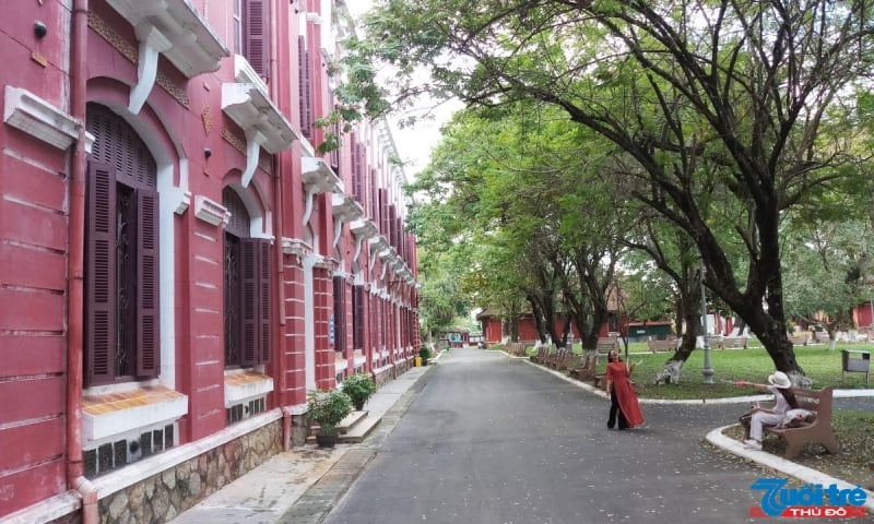 Bước qua cổng trường, con đường dẫn vào khuôn viên chính được che rợp mát bởi hai hàng cây cổ thụ tán rộng. Những dãy lớp học được phân bổ rất khoa học. Những hành lang phòng cũng được xây cao tách xa khỏi không gian vui chơi bên ngoài