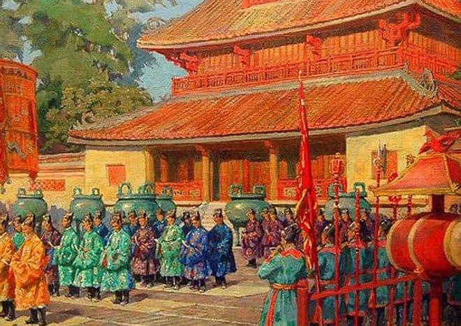 Tranh vẽ đại lễ ngày mùng một Tết ở Thế Miếu – Đại nội Huế năm 1923
