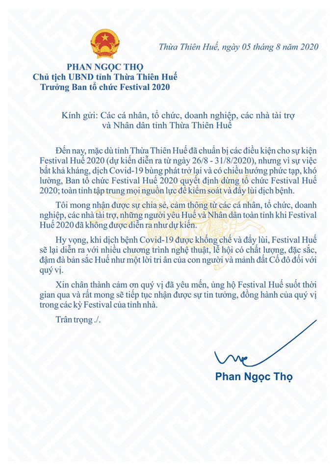 Tâm thư của Chủ tịch UBND tỉnh TT-Huế về việc dừng tổ chức Festival Huế 2020